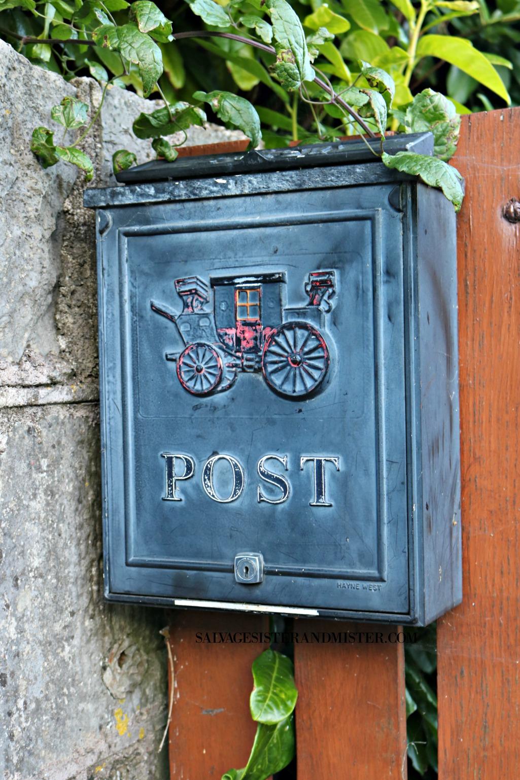 vintage mailbox in Irealnd on salvagesisterandmister.com