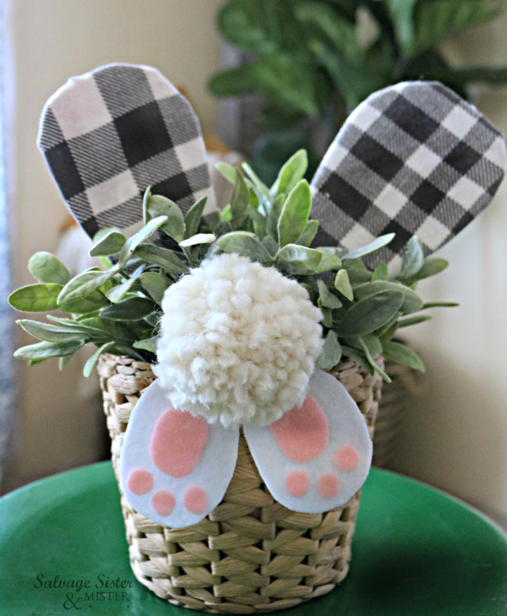 DIY bunny butt craft decoration - farmhouse style with buffalo check ears.  Removable so you can add it to anything you like (basket, tin, etc).  Fun for all ages to make.  Get the full tutorial on salvagesisterandmister.com