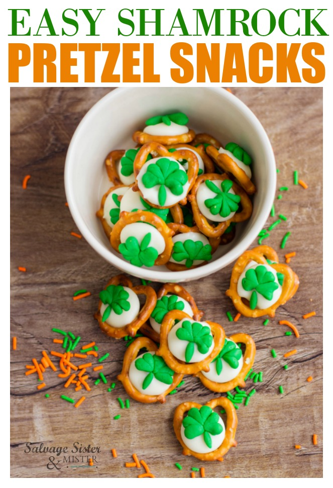 Just in time for St. Patrick's Day is this easy shamrock pretzel snack that is a little sweet and a little salty. quick to make and adds a little easy flare to your Irish celebration. Get the full recipe on salvagesisterandmister where we help to salvage you time in your party prep.