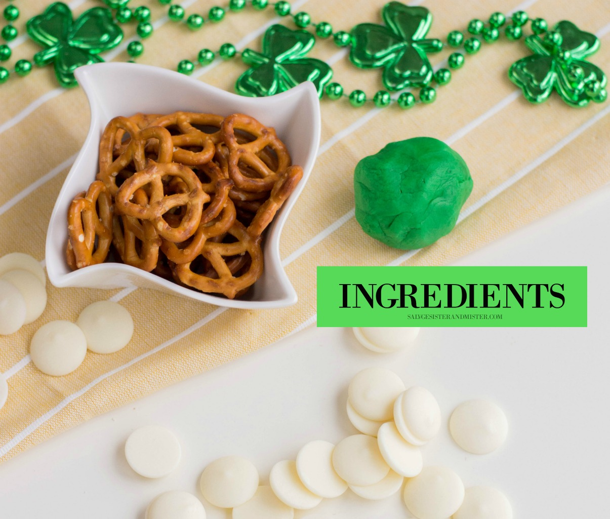 Ingredients for easy shamrock pretzel snacks on salvagesisterandmister.com