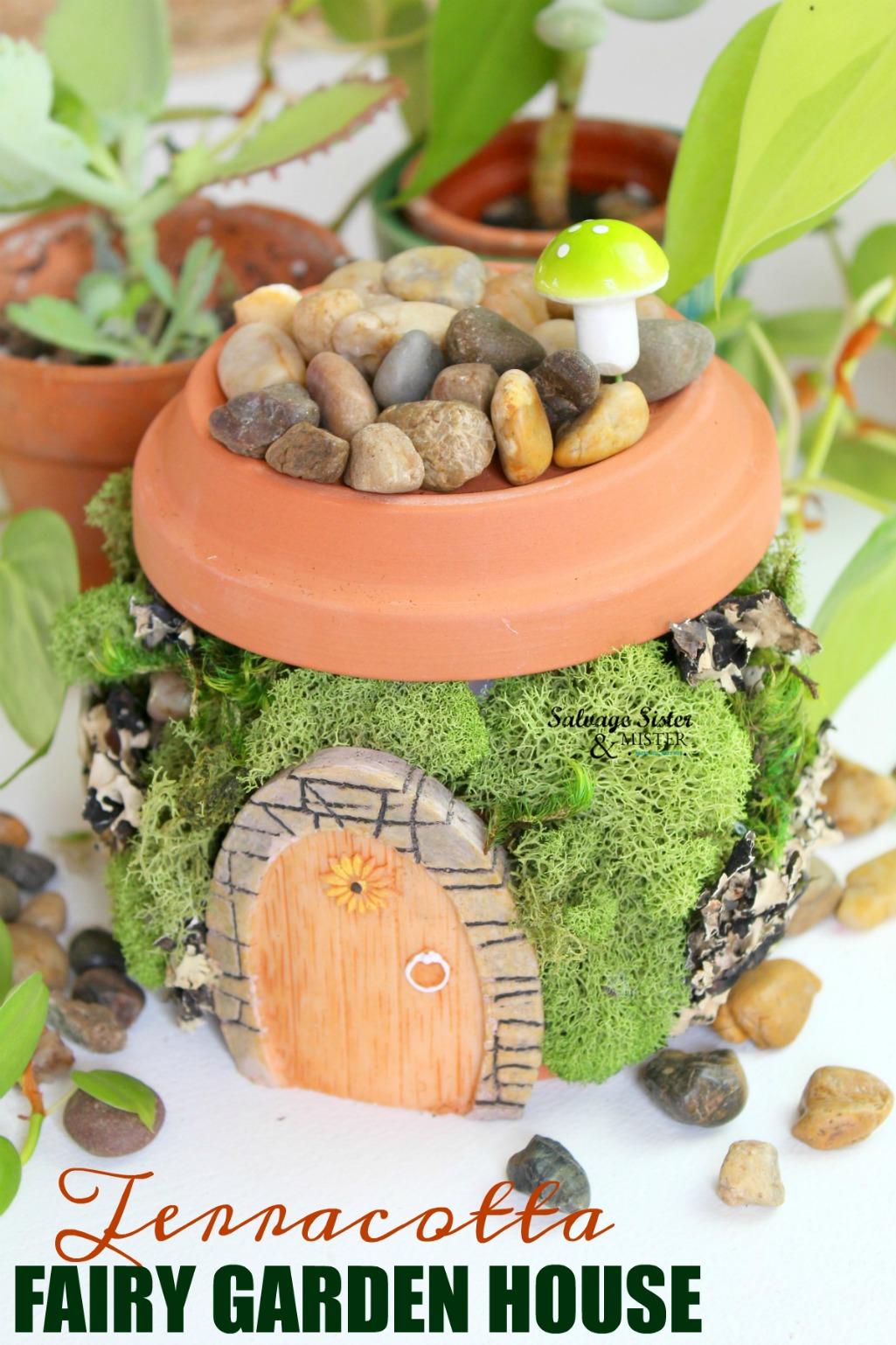 A magical little terracotta fairy garden house that is easy to make and uses very few items. A great way to repurpose old clay pots you aren't using or even make use of a broken pot. The full DIY tutorial is on salvagesisterandmister.com and is perfect for your spring garden or a fun craft projects for the kids.