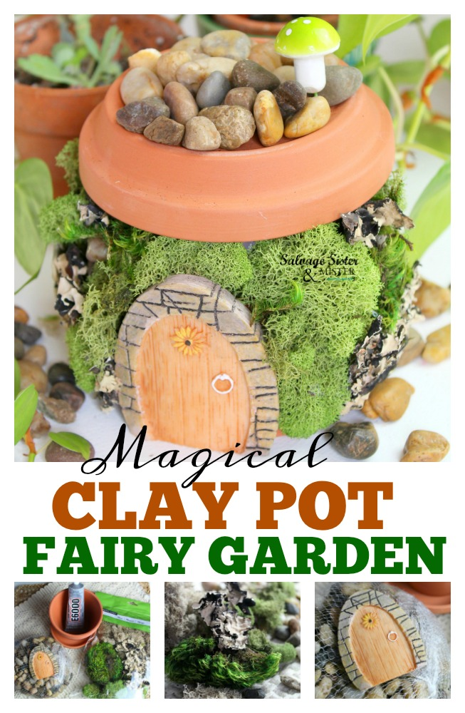 Magical terracotta fairy garden house made with clay pots and items from dollar store. This little craft is easy to make and can be customized into different looks. Even has a little mushroom chimney. Get your creative juices flowing and have a craft night with the family - each person creating their own unique piece. Get the full diy instructions on salvagesisterandmister.com
