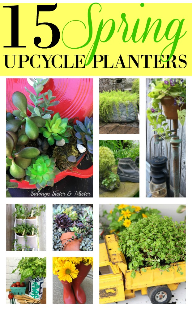 15 spring upcycle planters for your garden.  Don't toss it - repurpose it.  From a cooler to an old shoe and more.  So many unique and creative projects to use what you got.  Craft up some new ideas on salvagesisterandmsiter.com