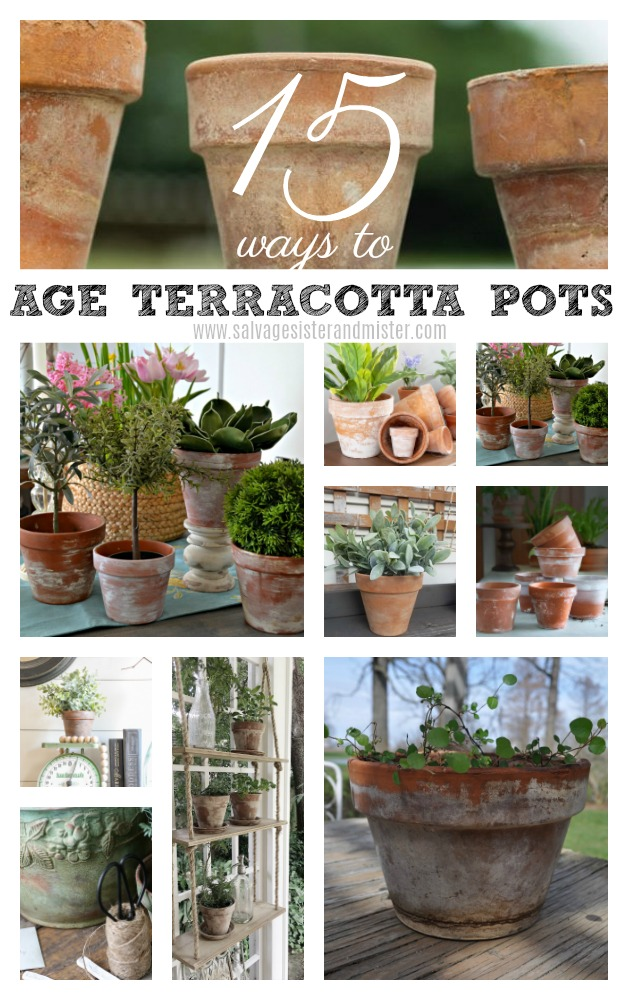 Do you love the look of old aged terracotta pots? It may be hard to find an authentically aged pot, but here are 15 ways to diy age terracotta pots yourself. Whether you buy the clay pots at a dollar store or you find them at a yard sale or thrift store, they can be made to look old in many different ways. Try many for unique looks to all your terra cotta pots. From mossy green to a litght lime appearance. Get all the details for these looks at salvagesisterandmister.com