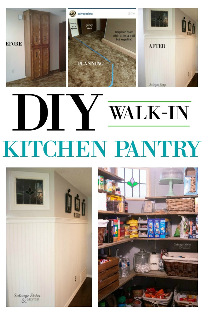 Building a DIY walk-in pantry for our kitchen using what we had and some salvaged items and  DIY projects,.  Turning our dated 1970's home into a more up to date feel with a little vintage and a lot of flea market style.  Get the deatails of the budget-friendly remodel on salvagesisterandmister.com