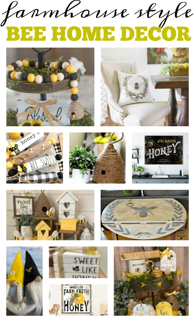 Bees are a popular home decor item. Find some diy projects to make, some makers to support, and some busget friendly items to get to add some bee-utiful bee items to your home. Find items for your farmhouse tiered tray, items for your wall, pieces for the outside of your home and garden. These pieces are sure to get people buzzing. Find the farmhouse style bee home decor list at salvagesisterandmister.com