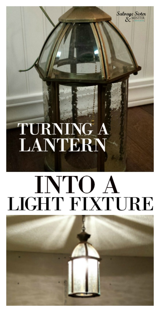 Found this lantern at the thrift store and found a way to turn it into a light fixture for our pantry. Get the details on the budget-friendly diy on salvagesisterandmister.com where we turn what we have into enough.