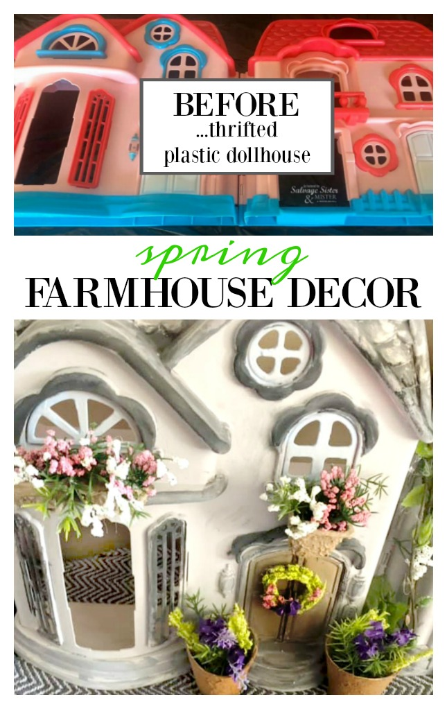 Thrift store transformation time - Turning this old unused dollhouse into a spring farmhouse home decor piece. This craft can be customized as you like and most items can be found at the thrift or Dollar Store. Get this tutorial on salvagesisterandmister where we wan to make marvelous from the discarded (waste not, want not)