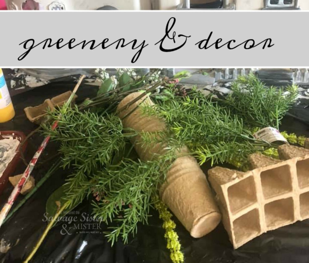 Dollar Store craft - greenery added to thrifted dollhouse on salvagesisterandmister.com