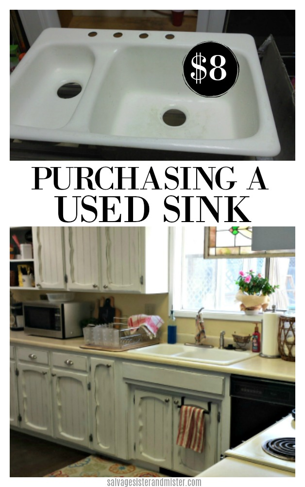 Remodeling can get expensive in a real hurry.  We needed (wanted)  a deeper kitchen sink so what to do?  We headed to our favorite shop and purchased a used kitchen sink for $8.  Get the details and tips on purchasing a used sink on salvagesisterandmister.com