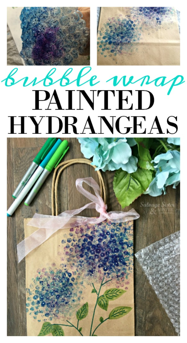 reuse craft idea - bubble wrap painted hydrangeas.  Fund for adults or kids.  A great way to jazz up plain gift bags or wrap.  Easy craft and can be done in minutes.  Full tutorial on salvagesisterandmiser.com (using items you already have on hand)