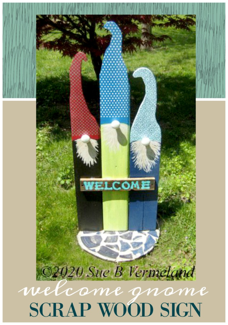 diy welcome gnome sign finished