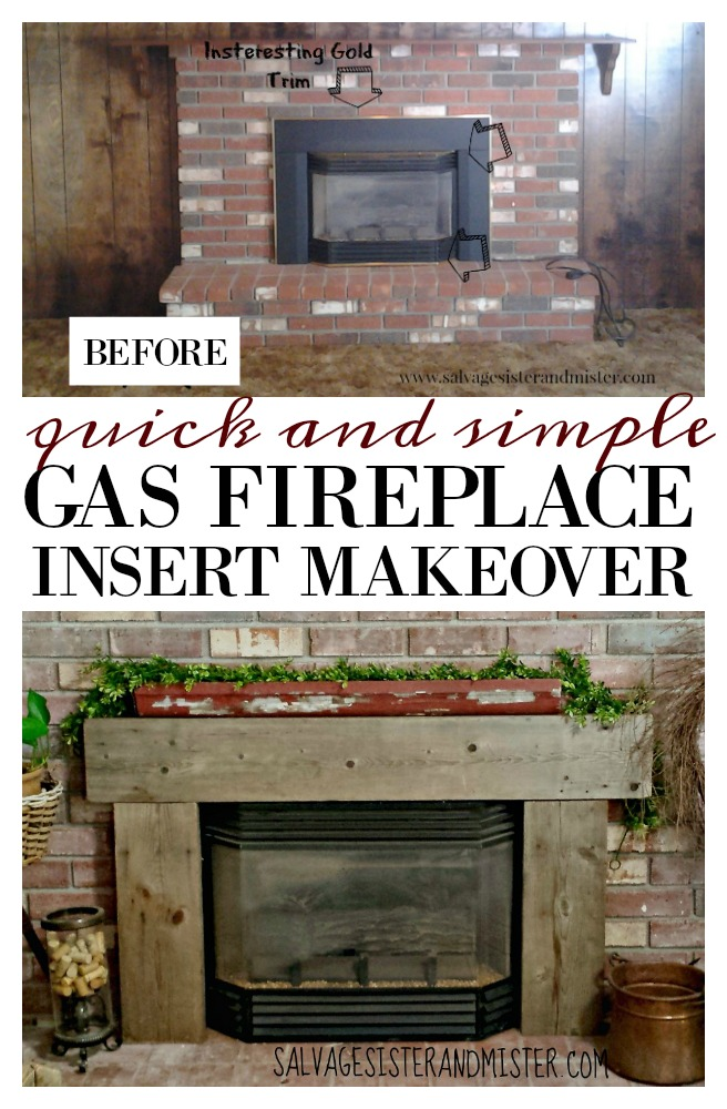 With a few items we already had around the house we did a cheap and simple gas fireplace insert makeover to remove the gold trim from the insert and add some salvage style to it.  Get the easy diy steps and customize it as you like.  Find info at salvagesisterandmister.com