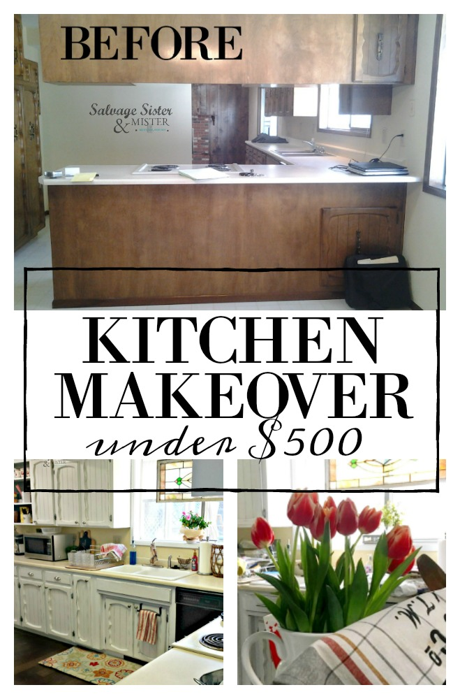 Turning a dates '70s kitchen with a budget-friendly makeover. If you want to remodel but it's not in the finances, here is a thrifty kitchen makeover that was done for less than $500. Find the tips and tricks plus what we did. Between using what we had,, thrifting, and DIY we are updating our home one room at a time. Find the details on salvagesisterandmister.com