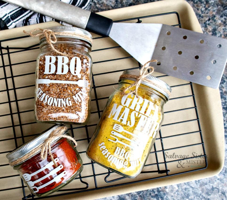 BBQ seasoning mix jars with labels