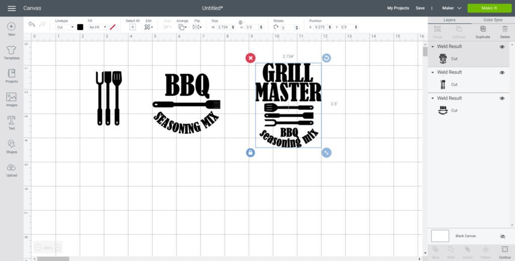 """Adjust image sizes to fit mason jars accordingly. The largest """"Grill Master"""" image was sized to 3.5"""" high on the Design Space canvas to fit an 8 oz jar."""
