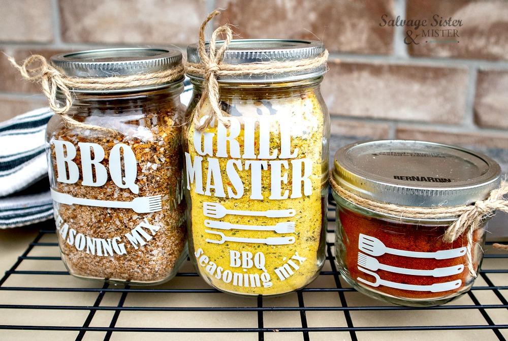 mason jars with bbq labels