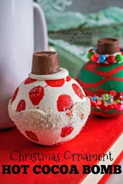 christmas ornament hot cocoa bomb