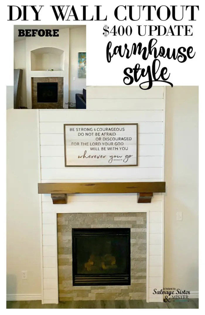 before and after diy project wall cutout update farmhouse style