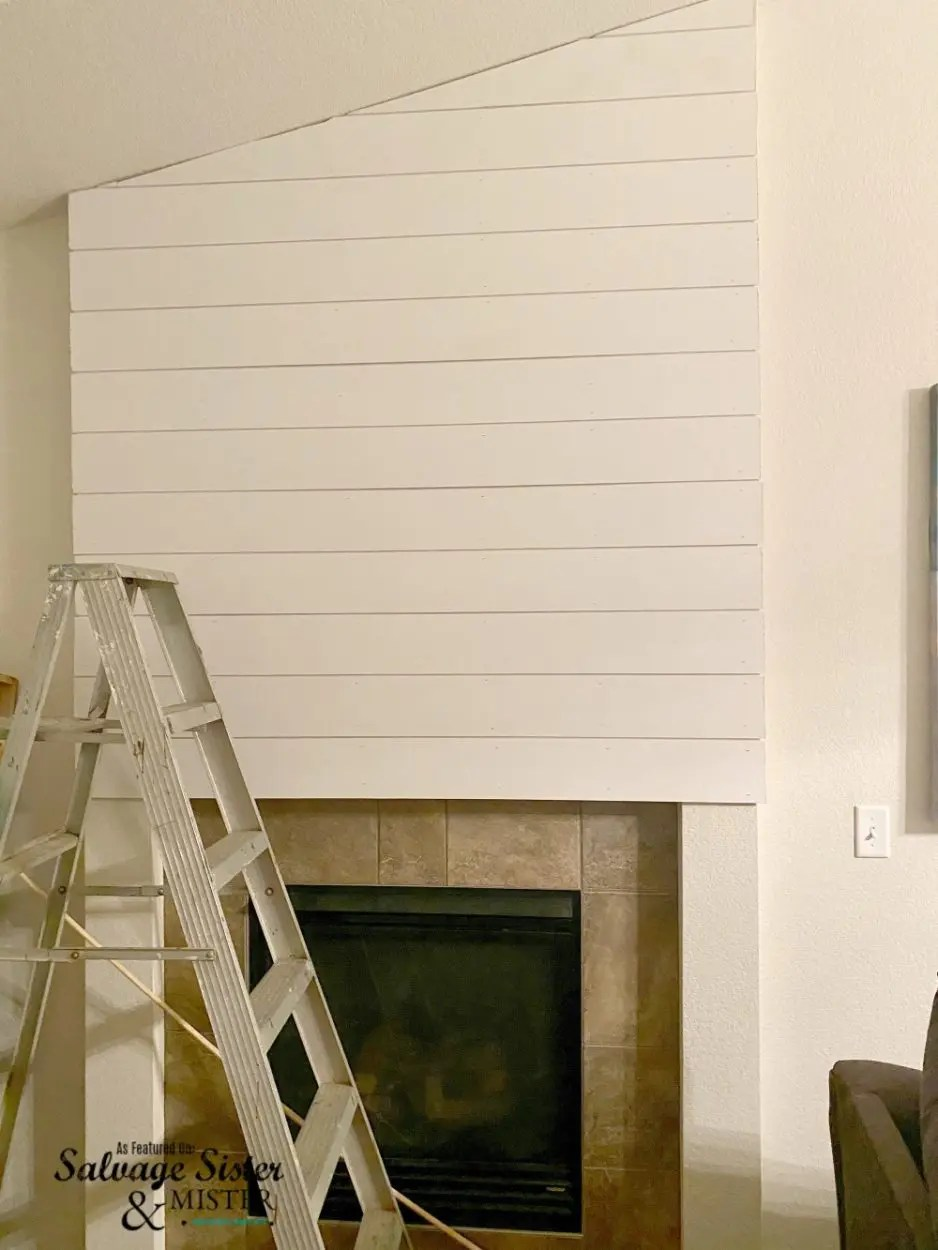 Covering wall cutout with shiplap