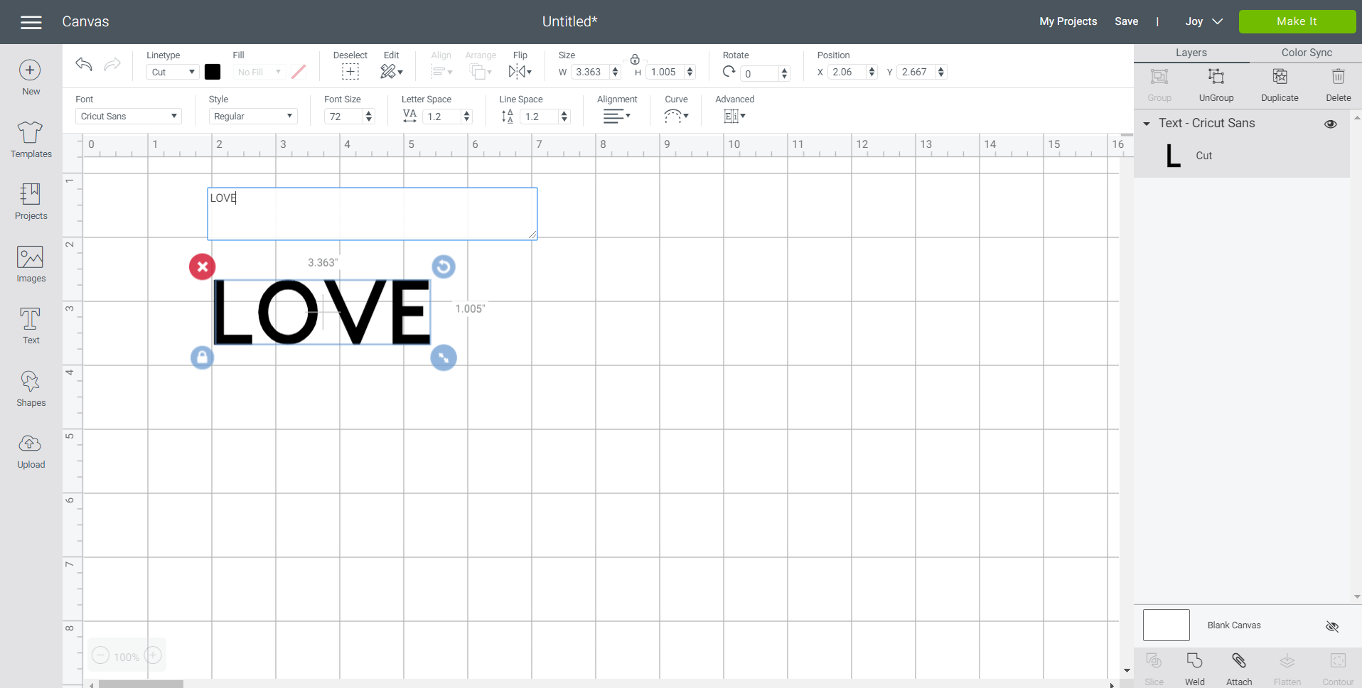Screenshot of Cricut Design Space with the work LOVE