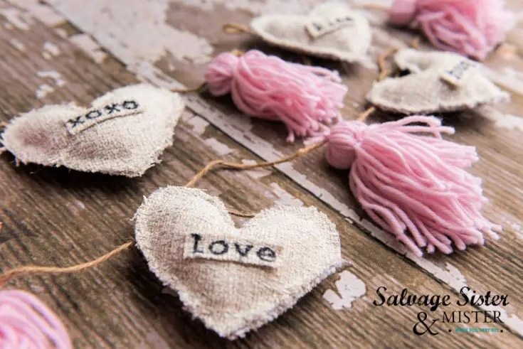 Image showing a completed section of a Farmhouse style stamped Valentine's Garland