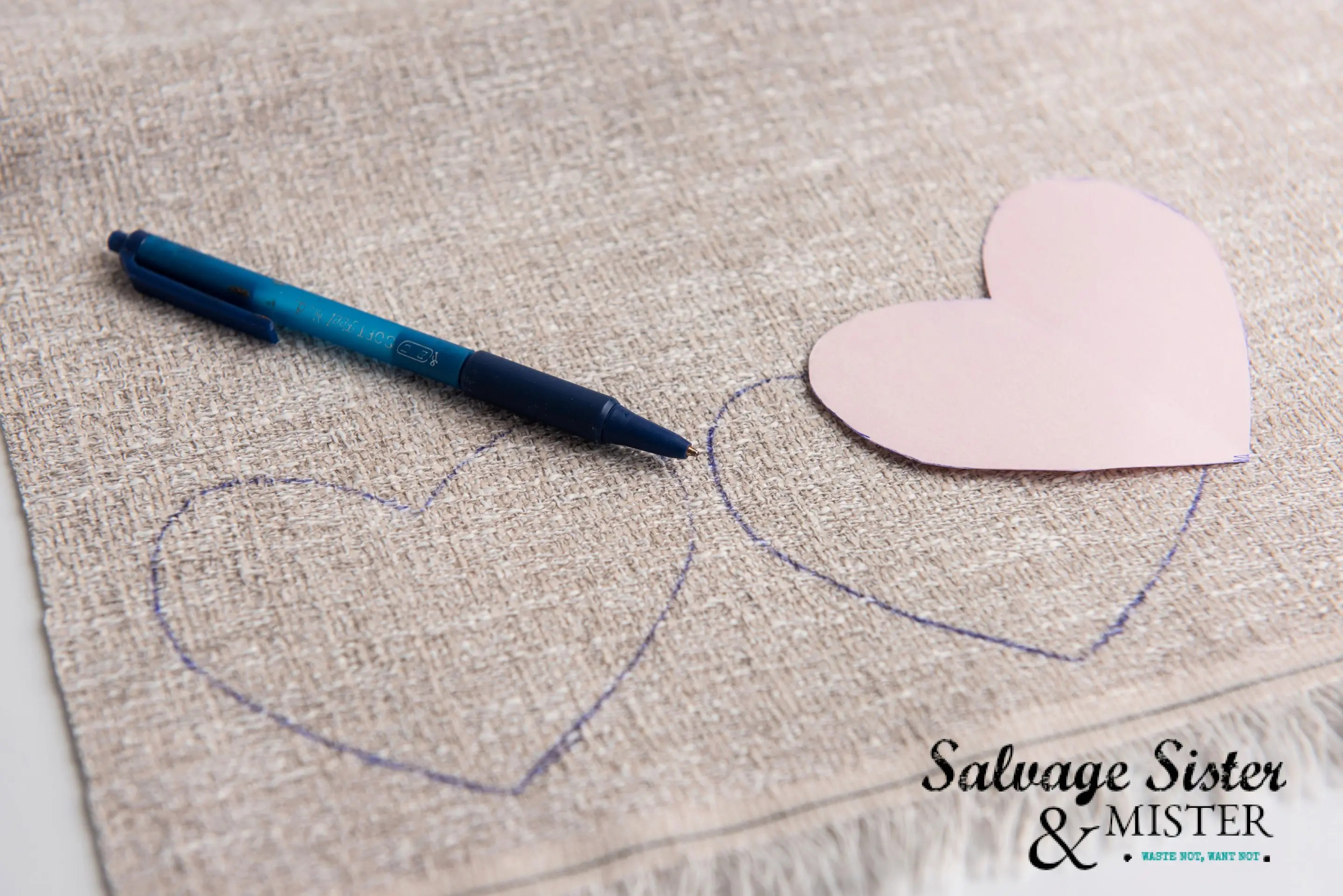 Tracing burlap hearts for a Farmhouse Valentine's Garland