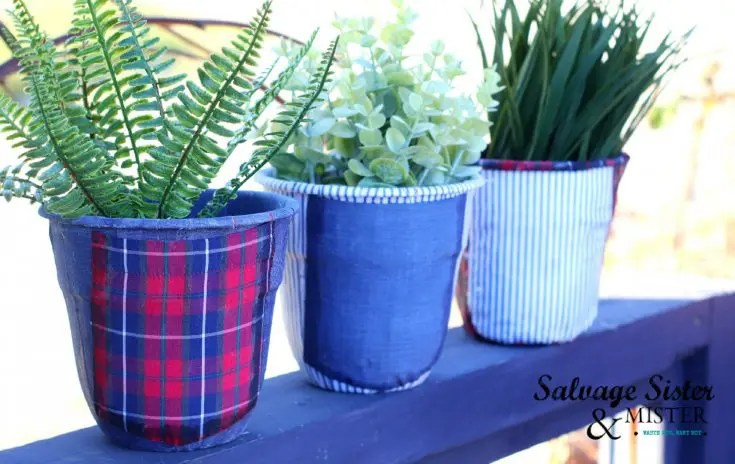 A trio of men's shirts decoupage upcycled planters.