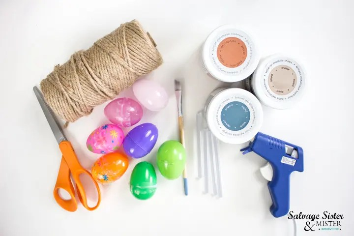 supplies needed to make twine wrapped plastic eggs