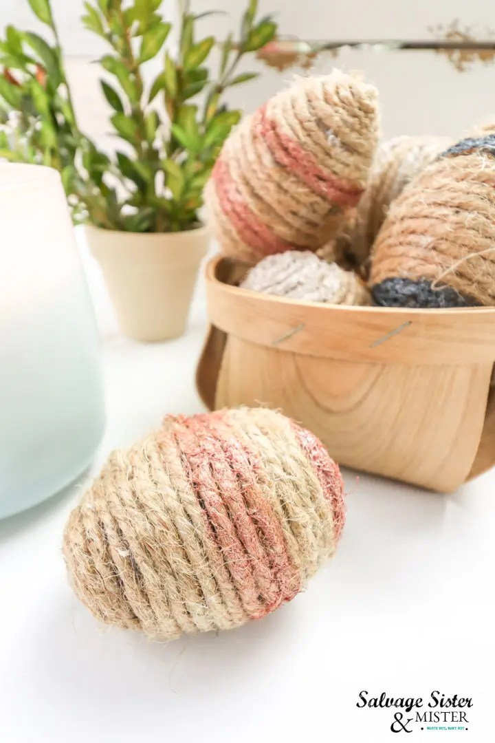 metallic painted twine eggs for Easter