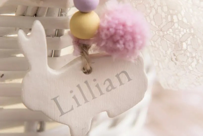 Cute DIY clay craft, showing how to attach gift tag to an Easter basket handle