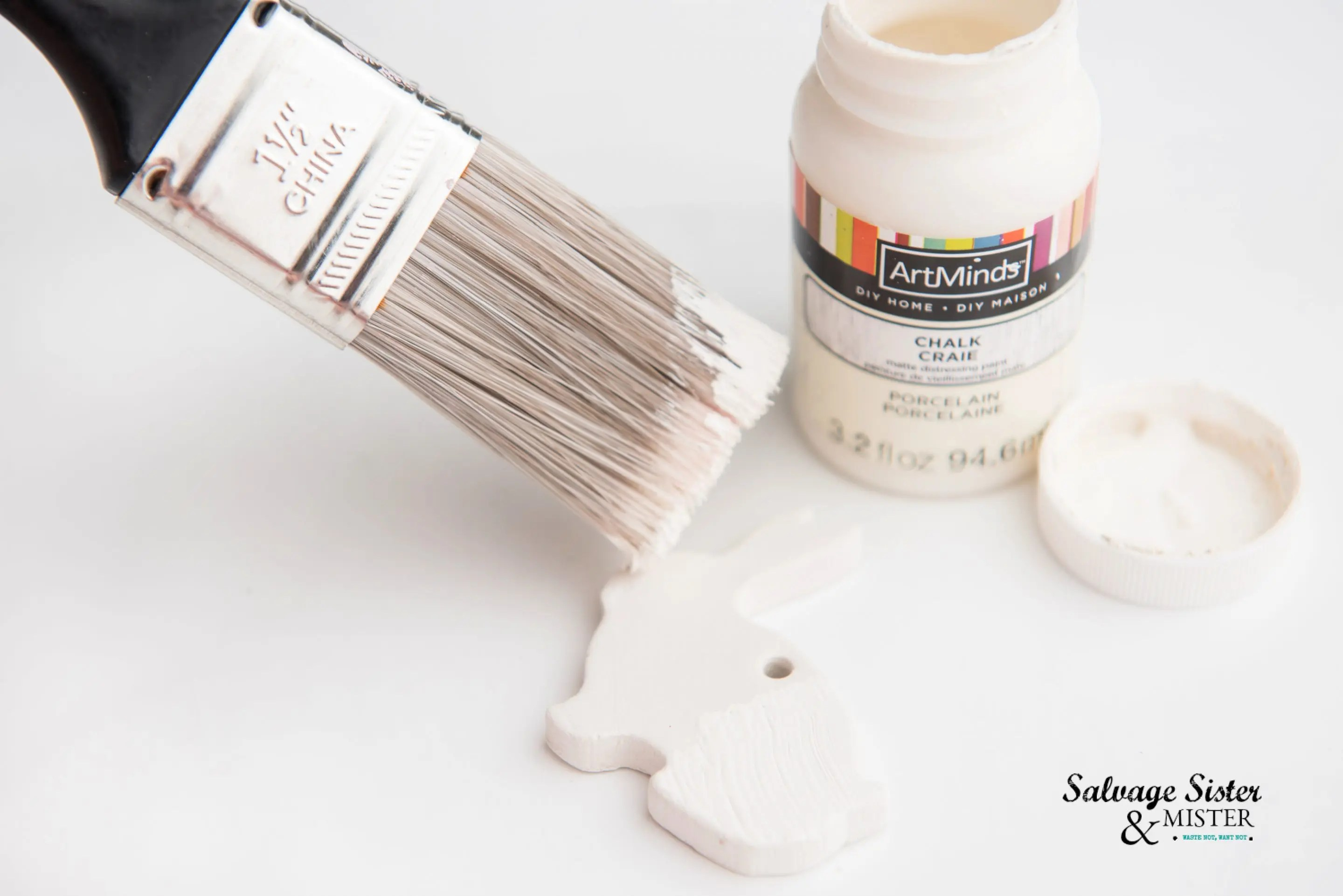 Chalk paint is easy to use on the cured clay.