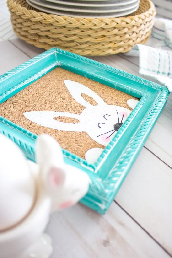 painted Easter bunny art on a table