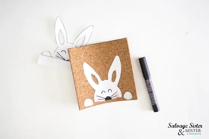 use black paint to draw bunny eyes and whiskers
