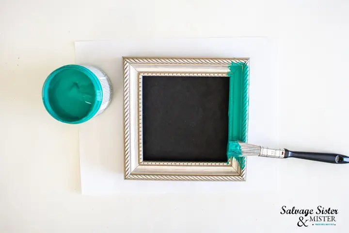 paint the Dollar Store frame in chalky paint