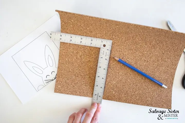 measure and mark the cork sheet to fit inside frame