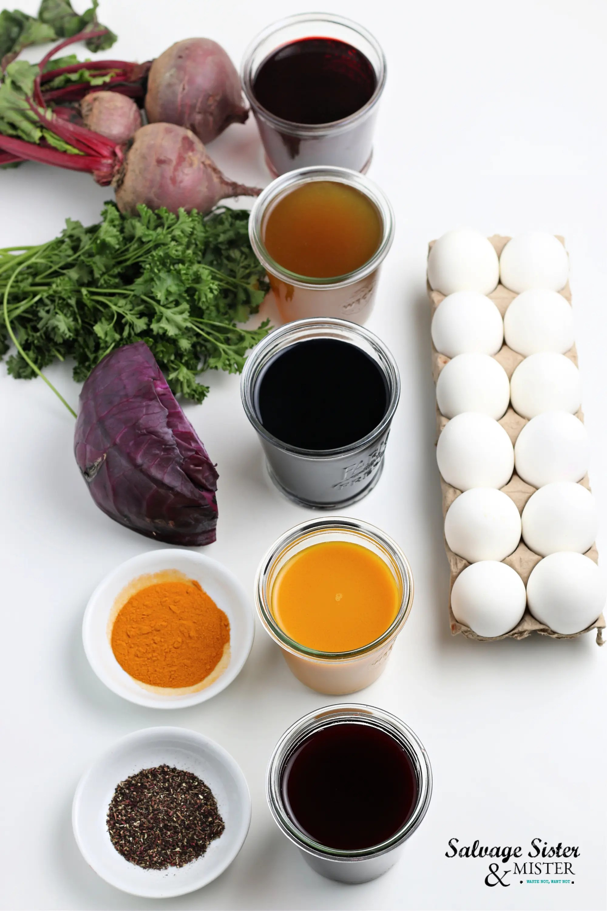 Vegetables like beets, parsley and red cabbage can be used to naturally color eggs for Easter. Spices and teas are also alternatives to chemical dyes used for coloring eggs.