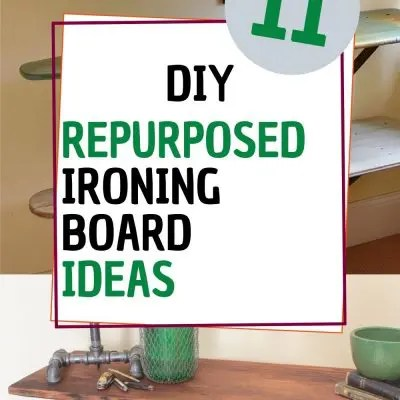 repurposed ironing board collage with text overlay