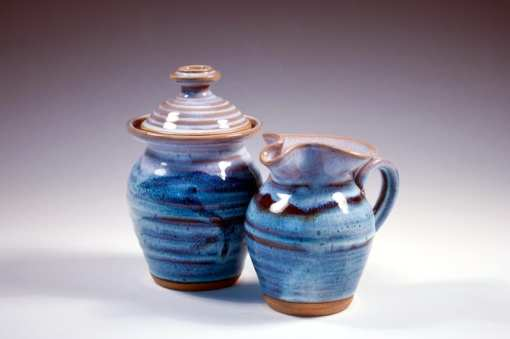sugar and creamer pottery sky