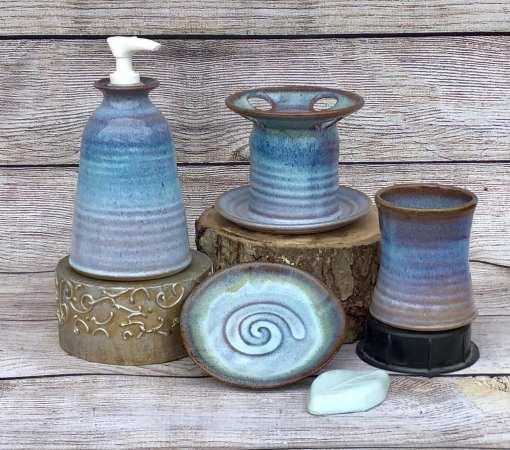 bathroom set, pump, toothbrush holder pottery blue