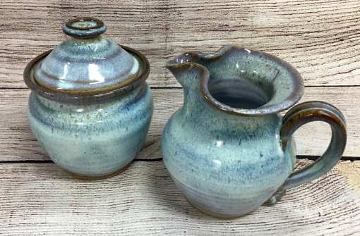 Sugar and creamer blue pottery