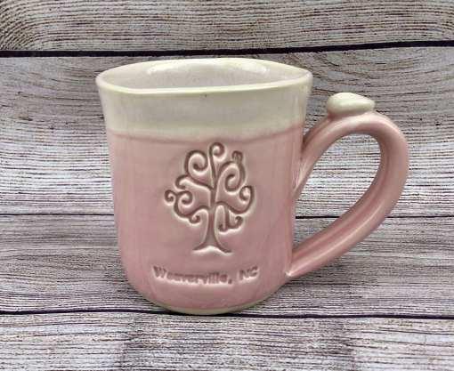 Pink custom logo pottery handmade mug