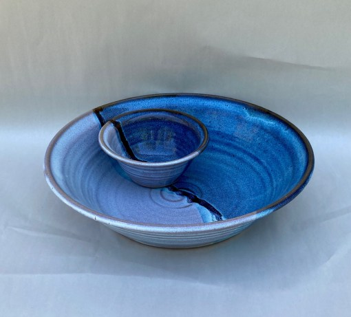 Two piece chip and dip blue handmade pottery