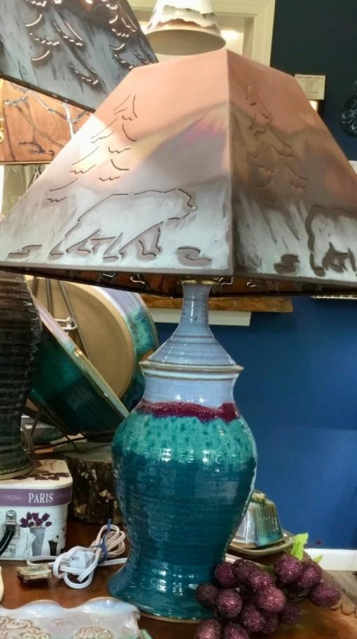 Green handmade ceramic lamp
