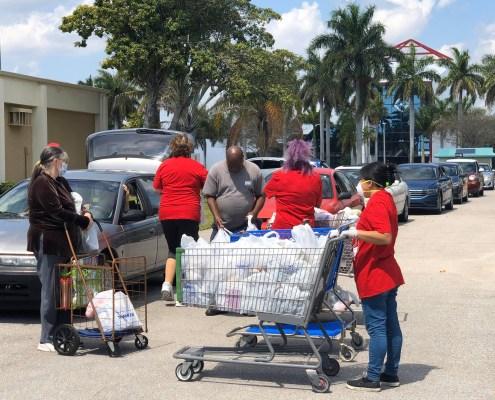 covid food distribution drive through