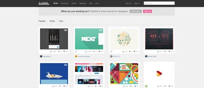 dribbble piattaforma web designer