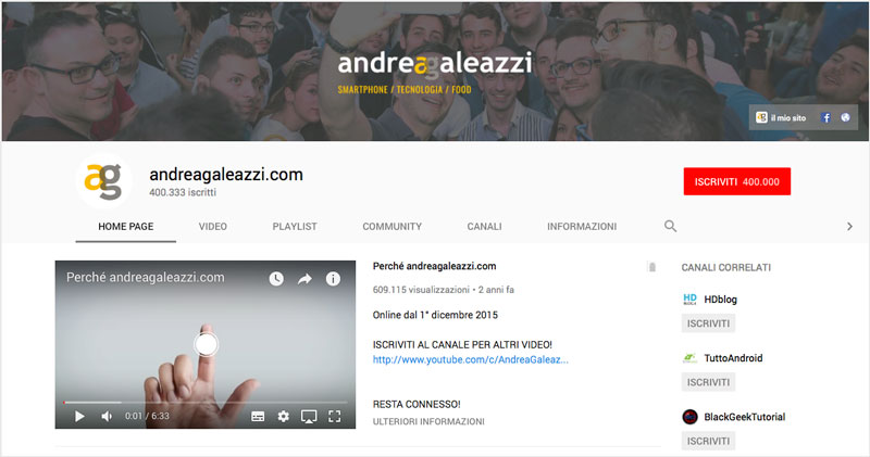 Canale Youtube Andrea Galeazzi