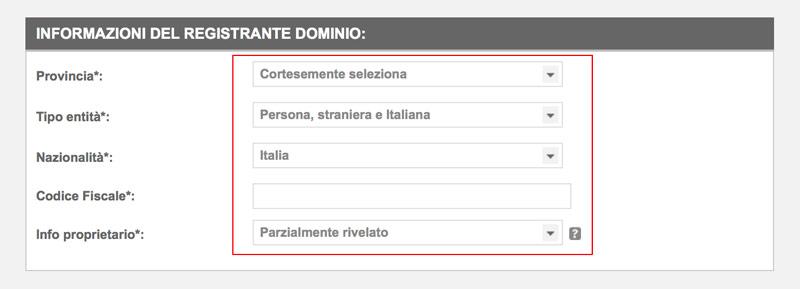inserimento dati intestazione nome dominio siteground