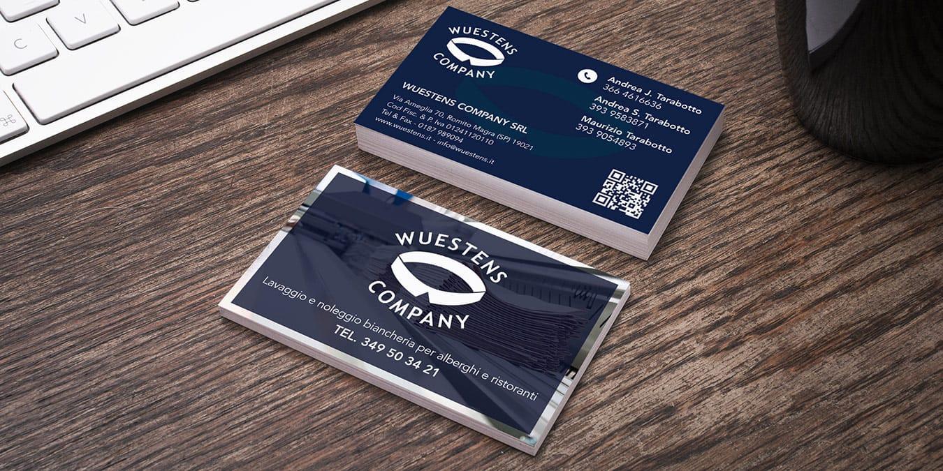 grafica pubblicitaria biglietto da visita wuestens company