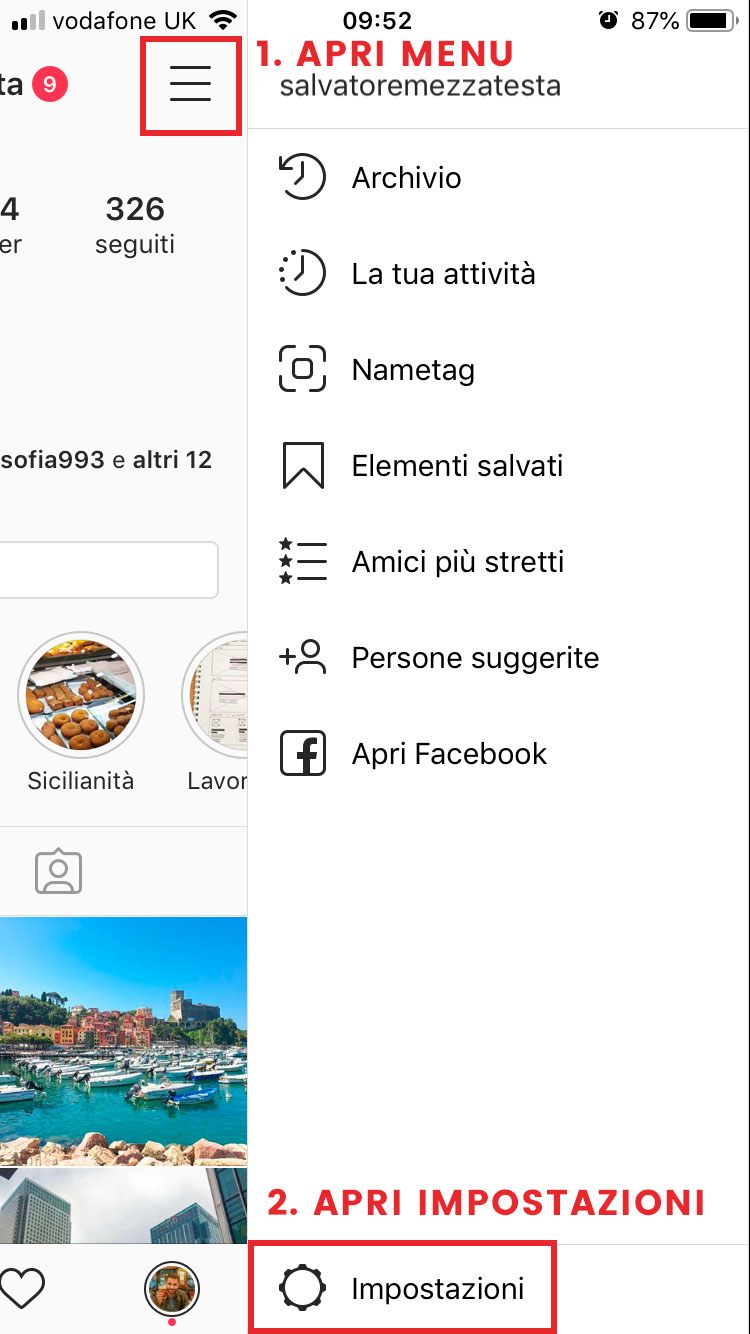 Step 1 Eliminare account instagram